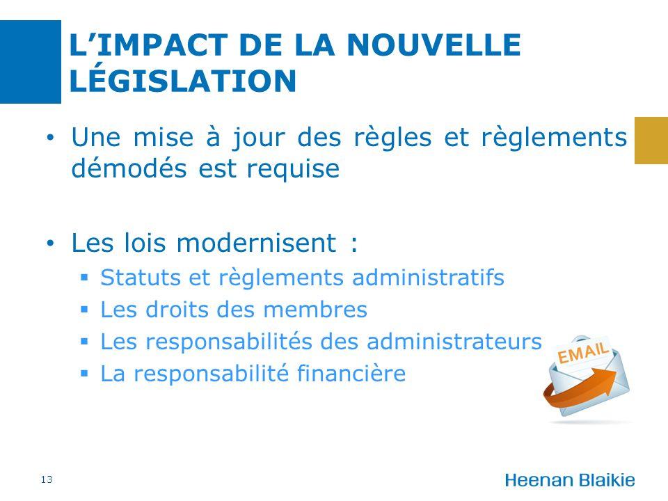 LIMPACT DE LA NOUVELLE LÉGISLATION Une mise à jour des règles et règlements démodés est requise Les lois modernisent : Statuts et règlements administr