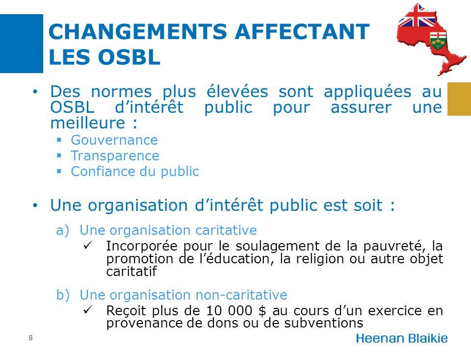 Des normes plus élevées sont appliquées au OSBL dintérêt public pour assurer une meilleure : Gouvernance Transparence Confiance du public Une organisa