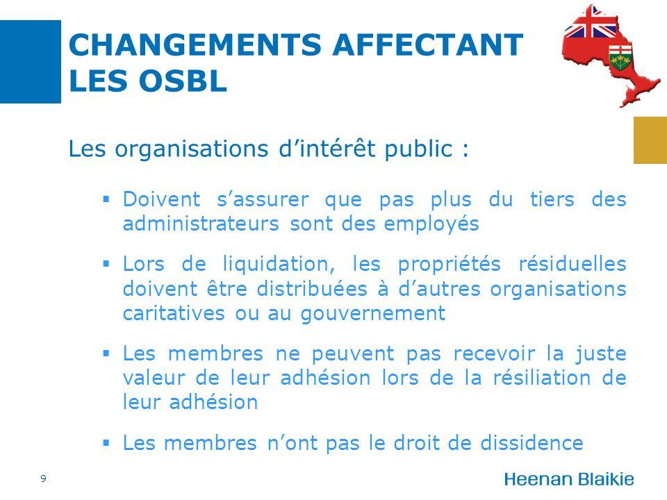 CHANGEMENTS AFFECTANT LES OSBL Les organisations dintérêt public : Doivent sassurer que pas plus du tiers des administrateurs sont des employés Lors d