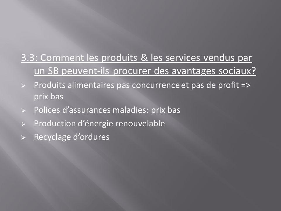3.3: Comment les produits & les services vendus par un SB peuvent-ils procurer des avantages sociaux? Produits alimentaires pas concurrence et pas de