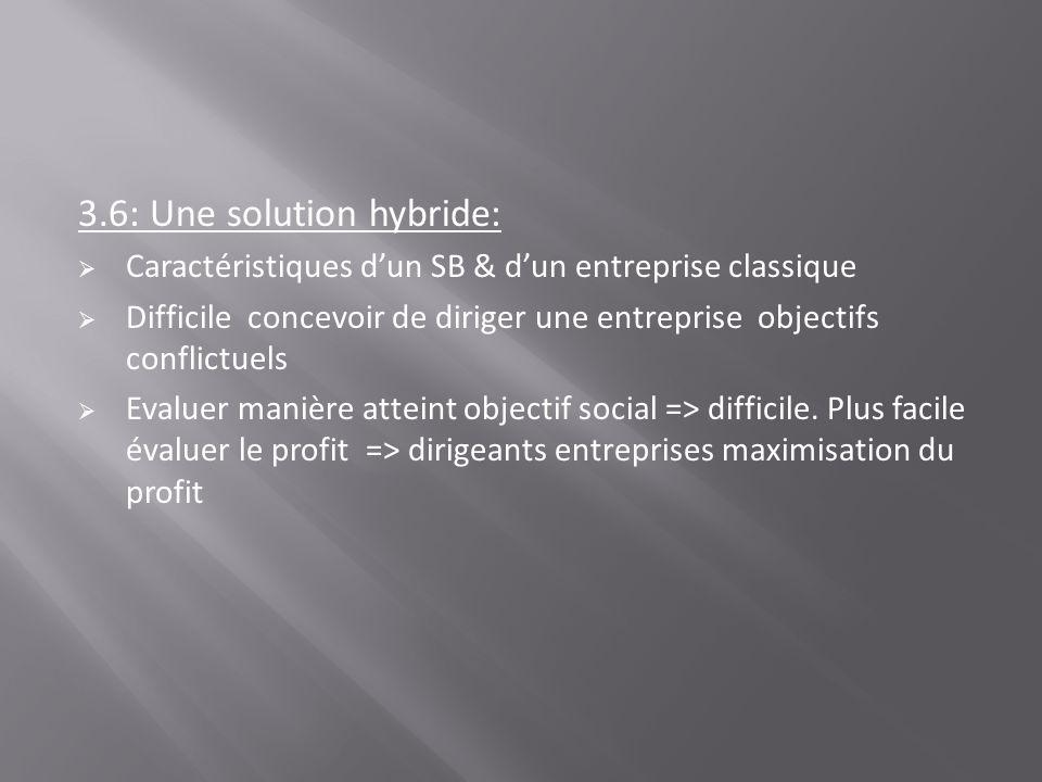 3.6: Une solution hybride: Caractéristiques dun SB & dun entreprise classique Difficile concevoir de diriger une entreprise objectifs conflictuels Eva