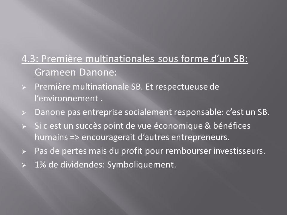 4.3: Première multinationales sous forme dun SB: Grameen Danone: Première multinationale SB. Et respectueuse de lenvironnement. Danone pas entreprise