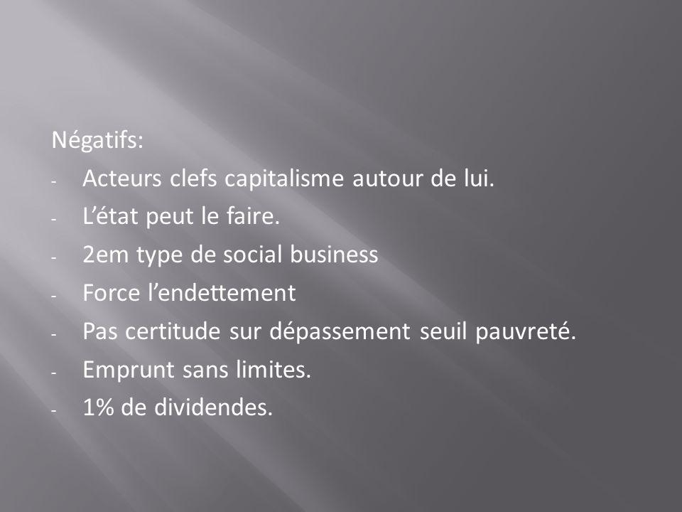 Négatifs: - Acteurs clefs capitalisme autour de lui. - Létat peut le faire. - 2em type de social business - Force lendettement - Pas certitude sur dép
