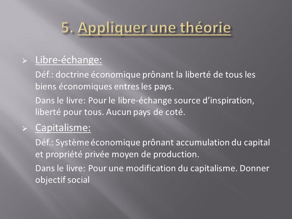 Libre-échange: Déf.: doctrine économique prônant la liberté de tous les biens économiques entres les pays. Dans le livre: Pour le libre-échange source
