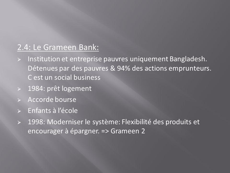 2.4.1: Quelques chiffres de la Grameen Bank o 4 prêts différents & 4 Ti différents o Intérêt simple o Prêt aux étudiants: 0% études et 5% aux diplômés o 15$: pas dintérêts o Le montant quils veulent quand ils veulent o La Grameen Trust, Grammen Bank que au Banlgladesh