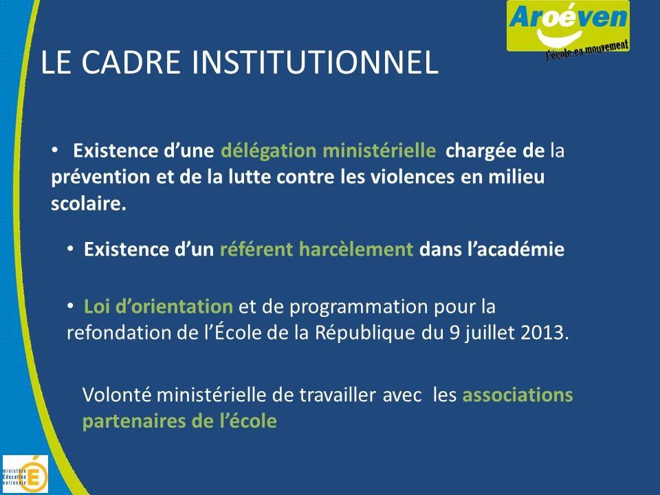 LE CADRE INSTITUTIONNEL Existence dune délégation ministérielle chargée de la prévention et de la lutte contre les violences en milieu scolaire.