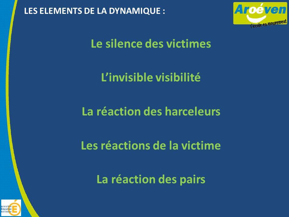 LES ELEMENTS DE LA DYNAMIQUE : Le silence des victimes Linvisible visibilité La réaction des harceleurs Les réactions de la victime La réaction des pairs