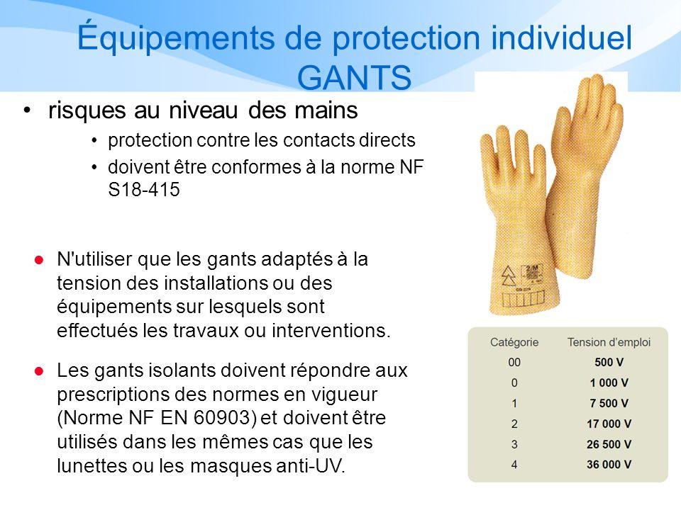 Équipements de protection individuel GANTS risques au niveau des mains protection contre les contacts directs doivent être conformes à la norme NF S18