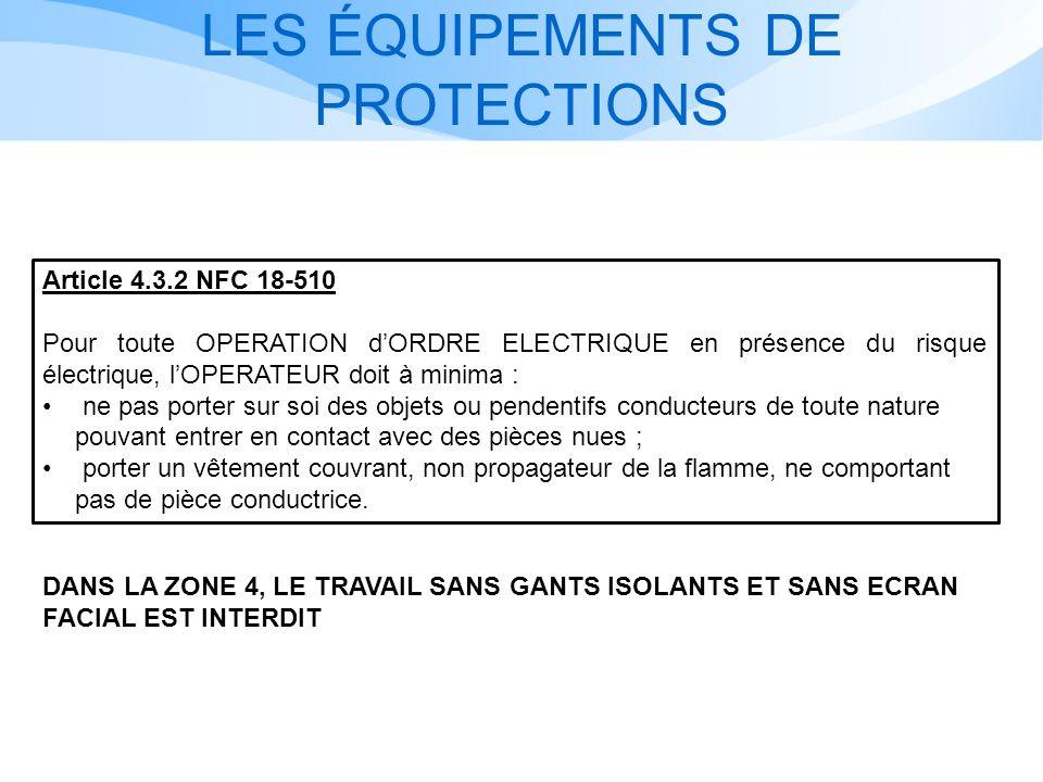 LES ÉQUIPEMENTS DE PROTECTIONS Article 4.3.2 NFC 18-510 Pour toute OPERATION dORDRE ELECTRIQUE en présence du risque électrique, lOPERATEUR doit à min