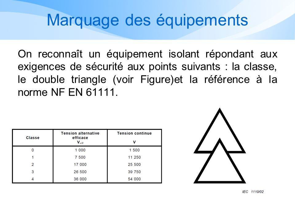 Marquage des équipements On reconnaît un équipement isolant répondant aux exigences de sécurité aux points suivants : la classe, le double triangle (v