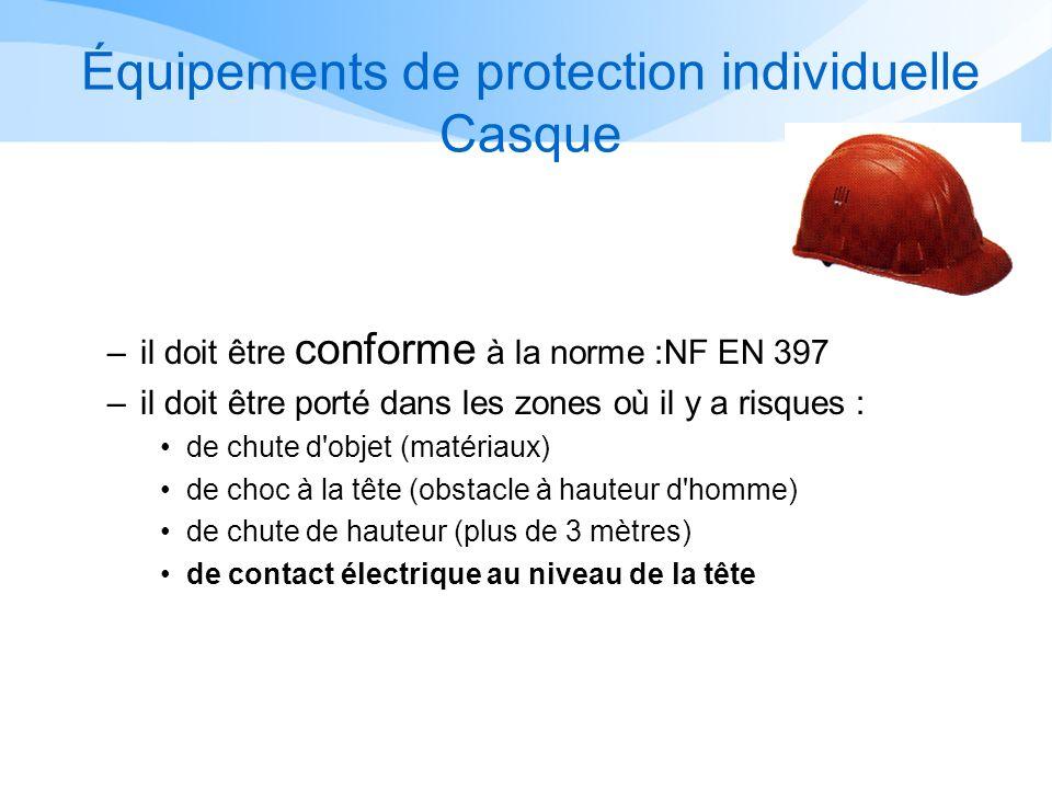 Équipements de protection individuelle Casque –il doit être conforme à la norme :NF EN 397 –il doit être porté dans les zones où il y a risques : de c