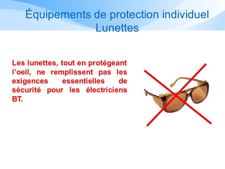 Équipements de protection individuel Lunettes Les lunettes, tout en protégeant loeil, ne remplissent pas les exigences essentielles de sécurité pour l