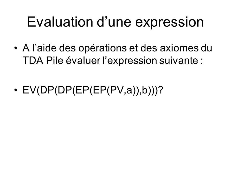 Evaluation dune expression A laide des opérations et des axiomes du TDA Pile évaluer lexpression suivante : EV(DP(DP(EP(EP(PV,a)),b)))?