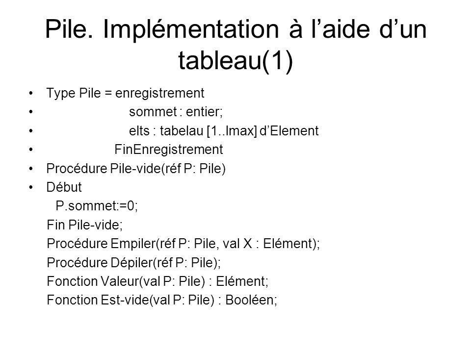 Pile. Implémentation à laide dun tableau(1) Type Pile = enregistrement sommet : entier; elts : tabelau [1..lmax] dElement FinEnregistrement Procédure