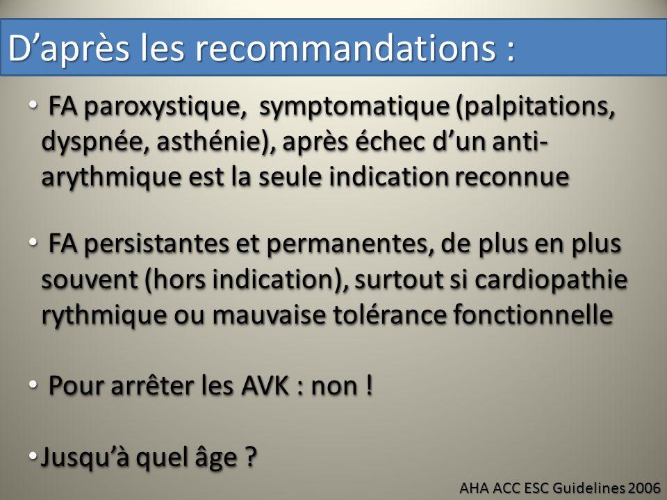 Daprès les recommandations : FA paroxystique, symptomatique (palpitations, dyspnée, asthénie), après échec dun anti- arythmique est la seule indicatio