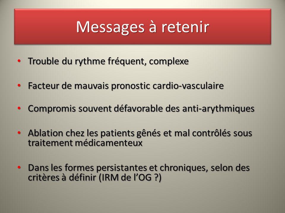 Messages à retenir Trouble du rythme fréquent, complexe Trouble du rythme fréquent, complexe Facteur de mauvais pronostic cardio-vasculaire Facteur de