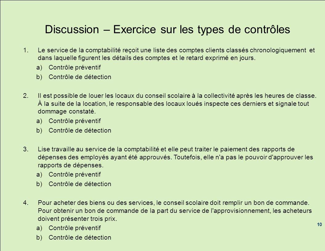 Discussion – Exercice sur les types de contrôles 1.Le service de la comptabilité reçoit une liste des comptes clients classés chronologiquement et dan