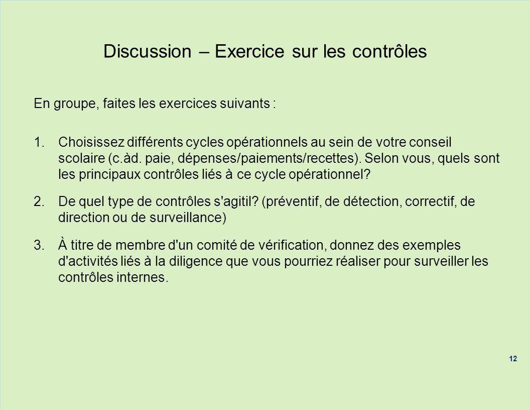 Discussion – Exercice sur les contrôles En groupe, faites les exercices suivants : 1.Choisissez différents cycles opérationnels au sein de votre conse