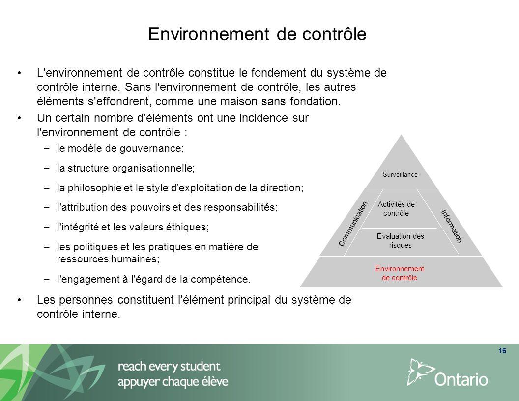 Environnement de contrôle L'environnement de contrôle constitue le fondement du système de contrôle interne. Sans l'environnement de contrôle, les aut