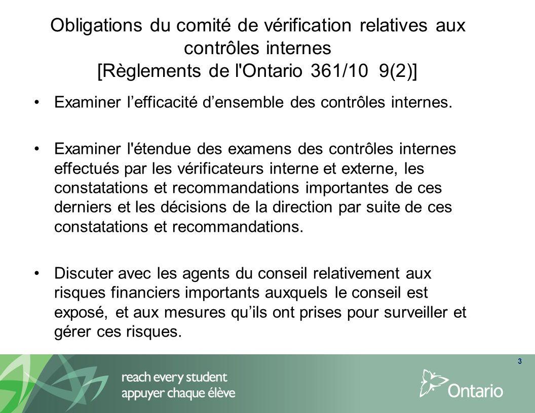 3 Obligations du comité de vérification relatives aux contrôles internes [Règlements de l'Ontario 361/10 9(2)] Examiner lefficacité densemble des cont