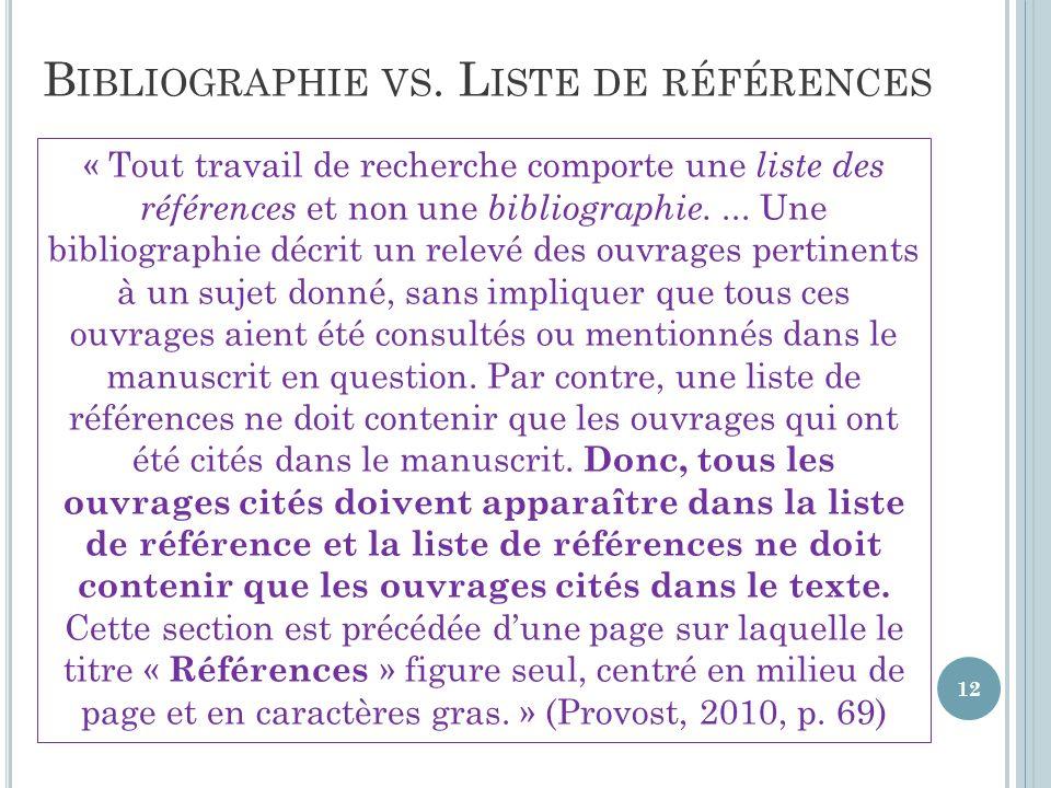 B IBLIOGRAPHIE VS.