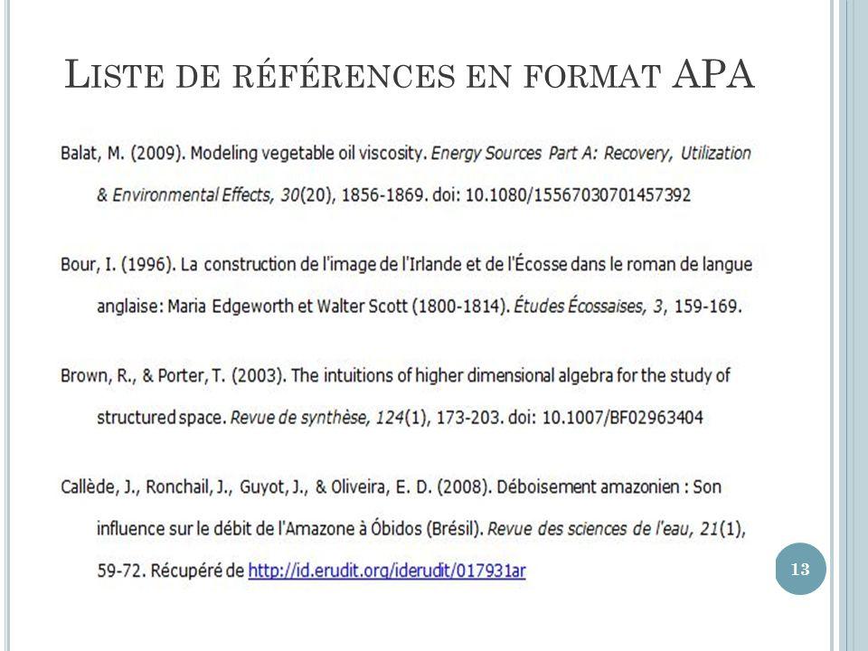 L ISTE DE RÉFÉRENCES EN FORMAT APA 13