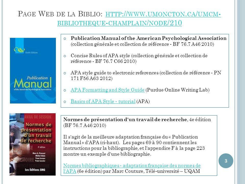 P AGE W EB DE LA B IBLIO : HTTP :// WWW.UMONCTON.