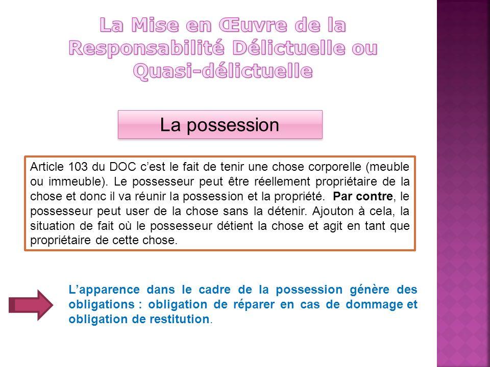 La possession Article 103 du DOC cest le fait de tenir une chose corporelle (meuble ou immeuble).