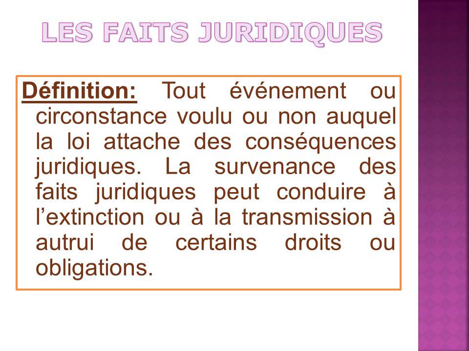 Définition: Tout événement ou circonstance voulu ou non auquel la loi attache des conséquences juridiques.