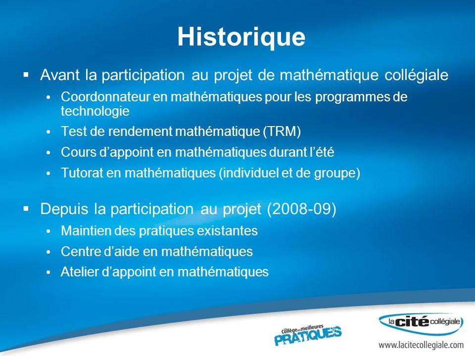 Historique Avant la participation au projet de mathématique collégiale Coordonnateur en mathématiques pour les programmes de technologie Test de rende
