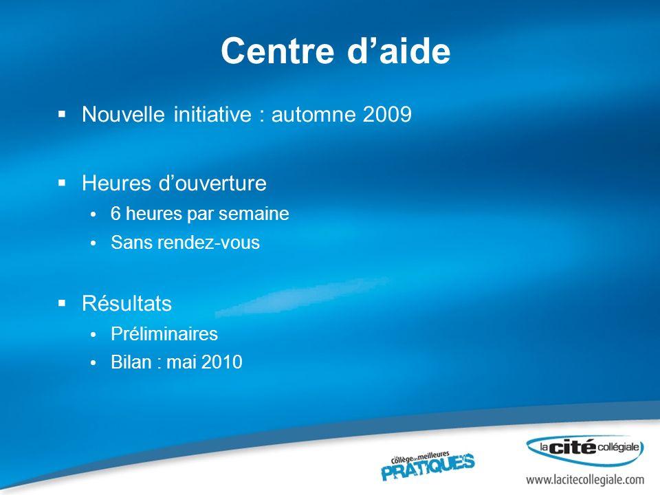 Centre daide Nouvelle initiative : automne 2009 Heures douverture 6 heures par semaine Sans rendez-vous Résultats Préliminaires Bilan : mai 2010