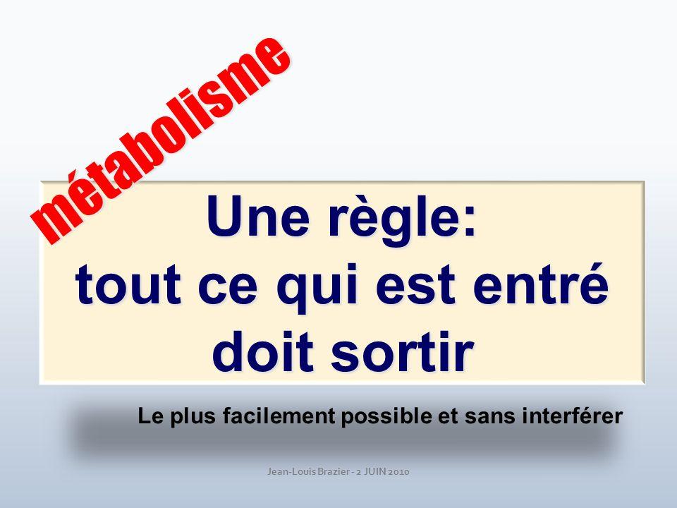 Jean-Louis Brazier - 2 JUIN 2010 Une règle: tout ce qui est entré doit sortir métabolisme Le plus facilement possible et sans interférer