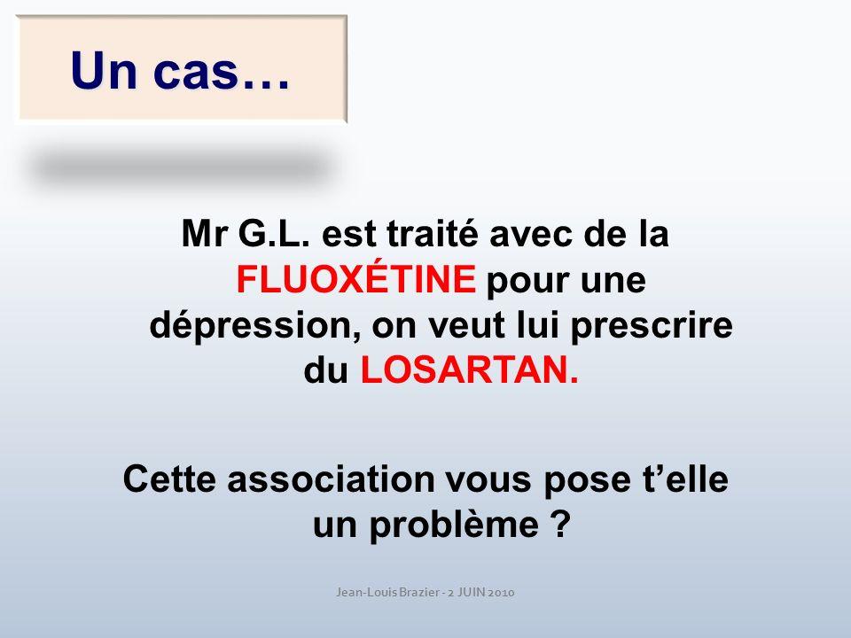 Jean-Louis Brazier - 2 JUIN 2010 Un cas… Mr G.L. est traité avec de la FLUOXÉTINE pour une dépression, on veut lui prescrire du LOSARTAN. Cette associ