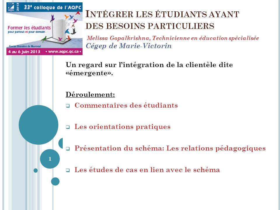 I NTÉGRER LES ÉTUDIANTS AYANT DES BESOINS PARTICULIERS Un regard sur lintégration de la clientèle dite «émergente».