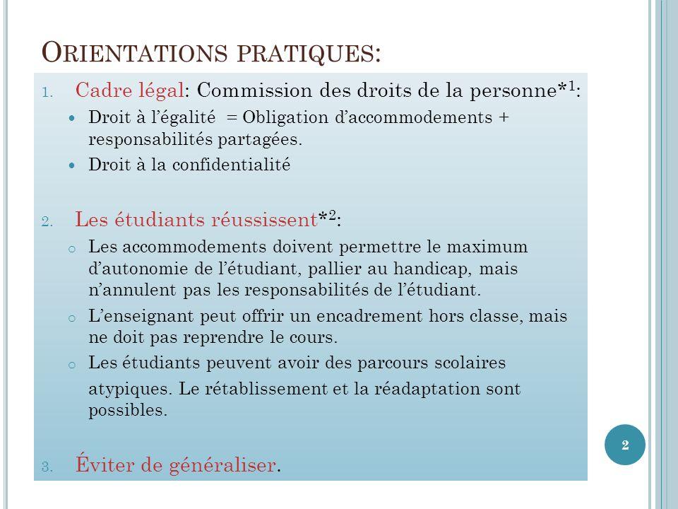 O RIENTATIONS PRATIQUES : 1.