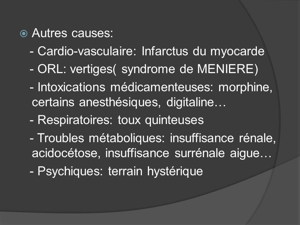 Autres causes: - Cardio-vasculaire: Infarctus du myocarde - ORL: vertiges( syndrome de MENIERE) - Intoxications médicamenteuses: morphine, certains an