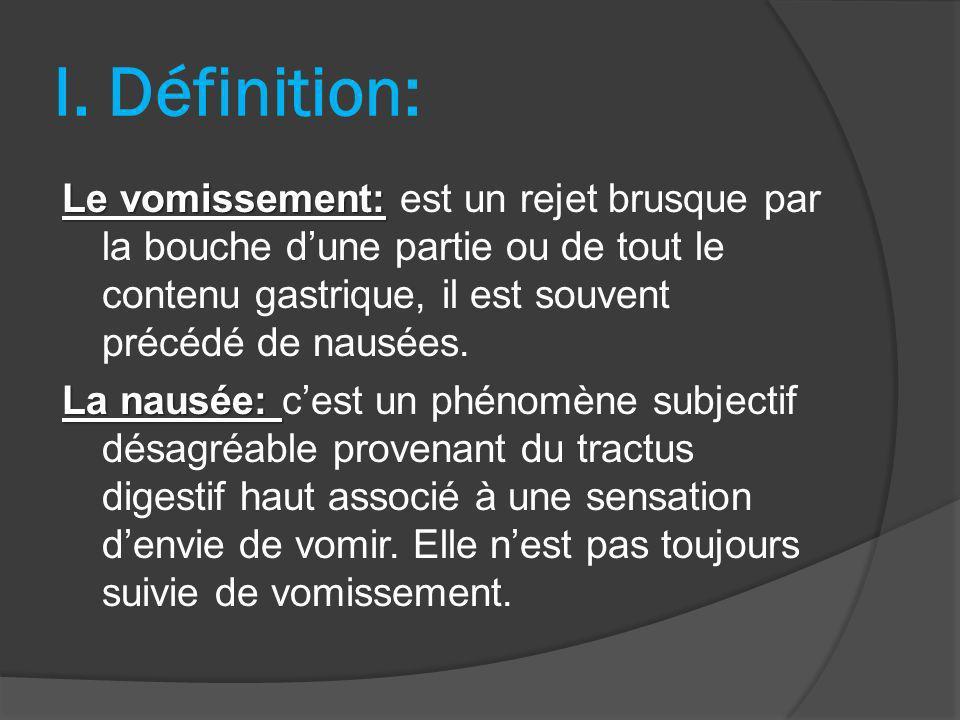 I. Définition: Le vomissement: Le vomissement: est un rejet brusque par la bouche dune partie ou de tout le contenu gastrique, il est souvent précédé