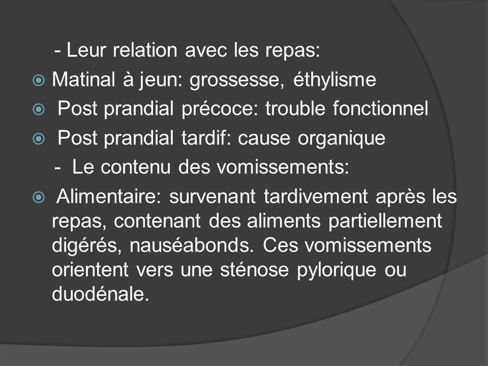 - Leur relation avec les repas: Matinal à jeun: grossesse, éthylisme Post prandial précoce: trouble fonctionnel Post prandial tardif: cause organique