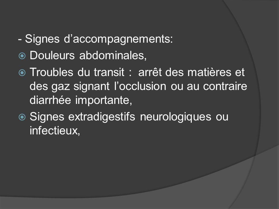 - Signes daccompagnements: Douleurs abdominales, Troubles du transit : arrêt des matières et des gaz signant locclusion ou au contraire diarrhée impor