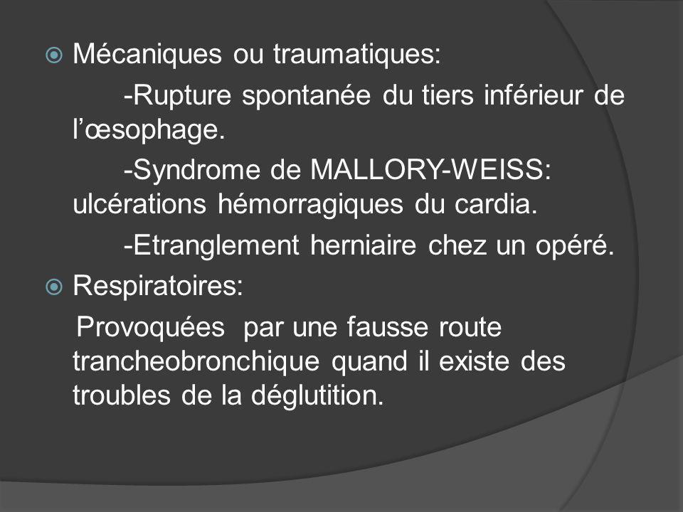 Mécaniques ou traumatiques: -Rupture spontanée du tiers inférieur de lœsophage. -Syndrome de MALLORY-WEISS: ulcérations hémorragiques du cardia. -Etra