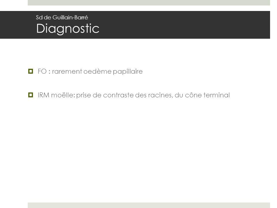 FO : rarement oedème papillaire IRM moëlle: prise de contraste des racines, du cône terminal Sd de Guillain-Barré Diagnostic