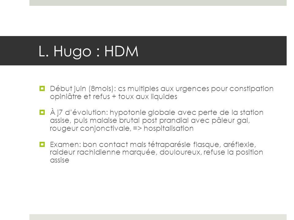 L. Hugo : HDM Début juin (8mois): cs multiples aux urgences pour constipation opiniâtre et refus + toux aux liquides À j7 dévolution: hypotonie global