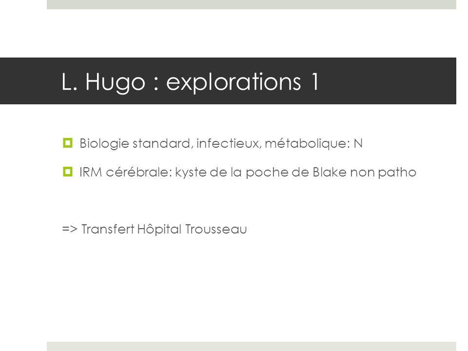 L. Hugo : explorations 1 Biologie standard, infectieux, métabolique: N IRM cérébrale: kyste de la poche de Blake non patho => Transfert Hôpital Trouss
