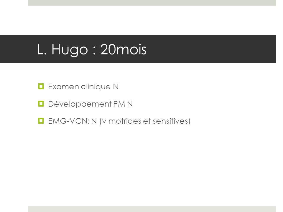 L. Hugo : 20mois Examen clinique N Développement PM N EMG-VCN: N (v motrices et sensitives)