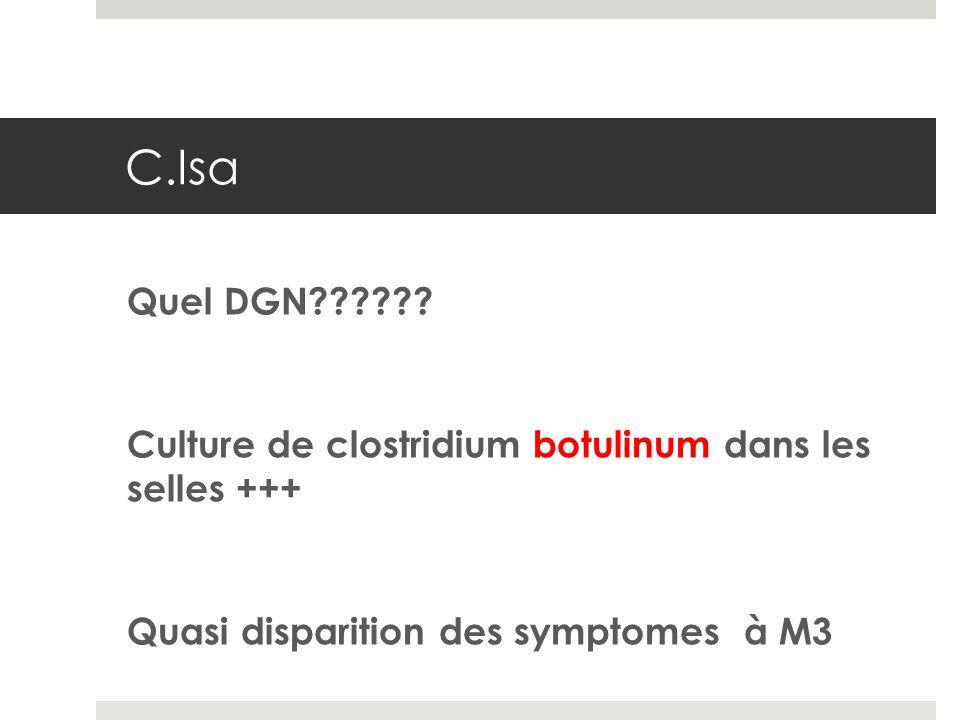 Quel DGN?????? Culture de clostridium botulinum dans les selles +++ Quasi disparition des symptomes à M3 C.Isa