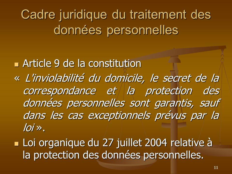 Cadre juridique du traitement des données personnelles Article 9 de la constitution Article 9 de la constitution « L'inviolabilité du domicile, le sec