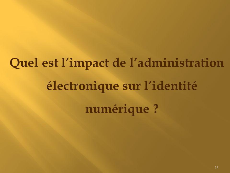 Quel est limpact de ladministration électronique sur lidentité numérique ? 13