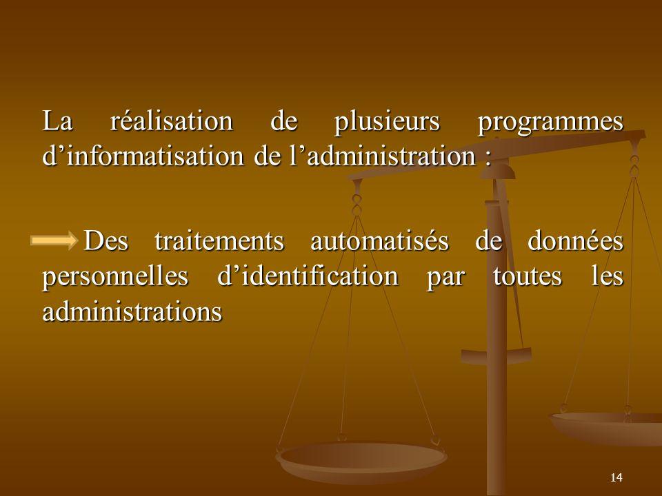 La réalisation de plusieurs programmes dinformatisation de ladministration : Des traitements automatisés de données personnelles didentification par t
