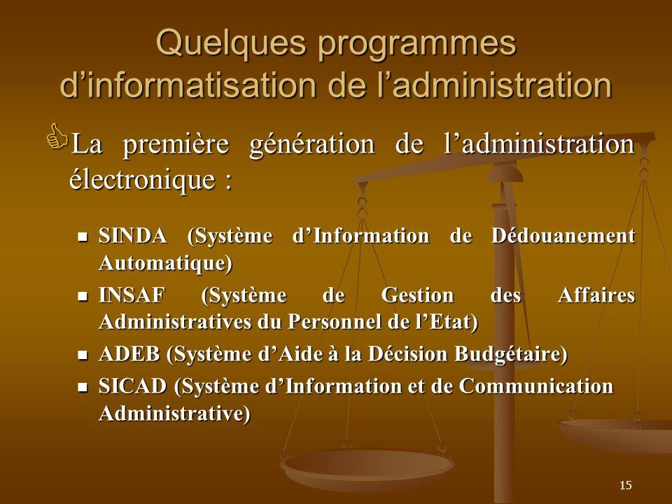 Quelques programmes dinformatisation de ladministration La première génération de ladministration électronique : La première génération de ladministra