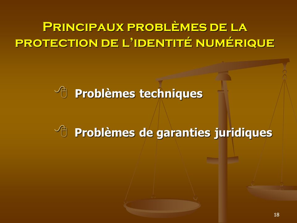 Principaux problèmes de la protection de lidentité numérique Problèmes techniques Problèmes techniques Problèmes de garanties juridiques Problèmes de